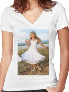 Young girl of six, in white dress and a wreath Women's Fitted V-Neck T-Shirt