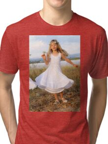 Young girl of six, in white dress and a wreath Tri-blend T-Shirt