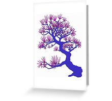 Blue Pine Bonsai (White Background)  Greeting Card