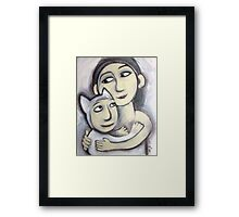 girl and her animal friend Framed Print