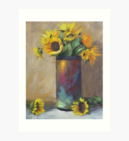 Sunflowers with Raku Pottery Painting Art Print