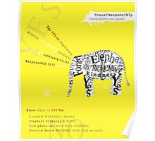 Responsible Tourism Elephant Typography Poster Poster