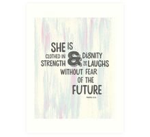Pretty Painted Modern Typographic Bible Verse. Art Print