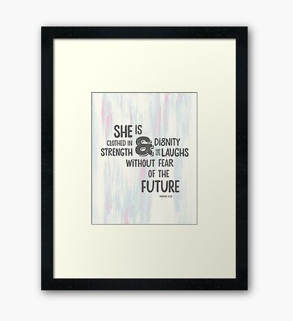 Pretty Painted Modern Typographic Bible Verse. Framed Print