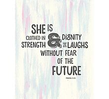 Pretty Painted Modern Typographic Bible Verse. Photographic Print