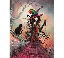 October Flame Witch Cat Halloween Fantasy Art Photographic Print