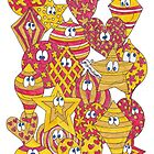 Baubles Yellow Red by Sammy Nuttall