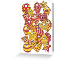 Baubles Yellow Red Greeting Card
