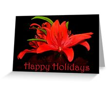 Happy red Lily Holidays Greeting Card