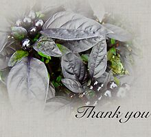 Thank You Card - Silver Leaves and Berries by MotherNature
