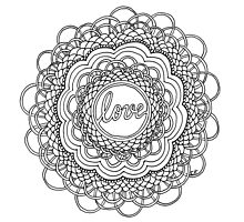 Zentangle Mandala Love Black & White Photographic Print