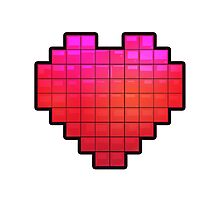 Large Pixel Heart Photographic Print