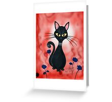Black cat in red Greeting Card