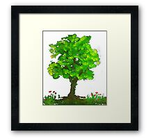 Tree of life and naughty pansies. Framed Print