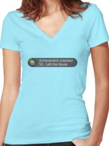 Xbox Achievement - Left the House Women's Fitted V-Neck T-Shirt