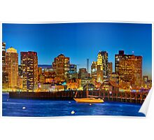 Boston skyline- Piers Park View  Poster