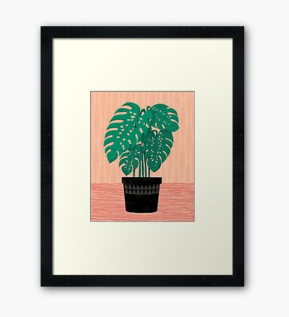 Cheese Plant - Trendy Hipster art for dorm decor, home decor, ferns, foliage, plants Framed Print