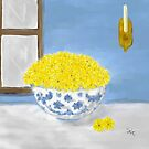 Watercolor Yellow Daisies in a Blue and White Bowl by Sarah Countiss