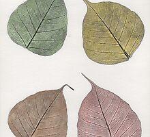 Four fallen leaves by Blueluna