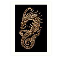 Rustic Capricorn Zodiac Sign on Black Art Print