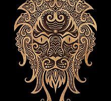Rustic Leo Zodiac Sign on Black by Jeff Bartels
