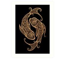 Rustic Pisces Zodiac Sign on Black Art Print