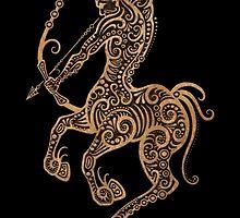 Rustic Sagittarius Zodiac Sign on Black by Jeff Bartels