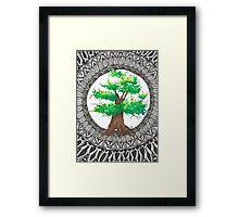 Watercolor and ink Mandala Tree Framed Print