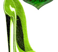Zesty Lime Green Stiletto Shoe and Heart by ckeenart