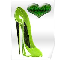 Zesty Lime Green Stiletto Shoe and Heart Poster