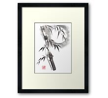 Moon blade bamboo sumi-e painting  Framed Print