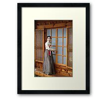 Korean Hanok and Hanbok Framed Print