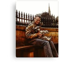 Holding The Dog Canvas Print