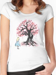 The Cheshire's Tree sumi-e Women's Fitted Scoop T-Shirt