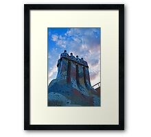 Sunset Colored Chimneys - Impressions Of Barcelona Framed Print