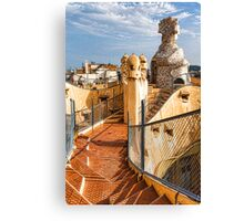 Gaudi's Fascinating Rooftop – Impressions Of Barcelona Canvas Print
