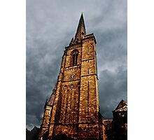 Ominous Church Clock Tower  and Foreboding Weather Photographic Print