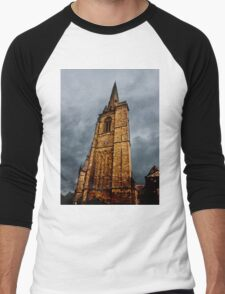Ominous Church Clock Tower  and Foreboding Weather Men's Baseball ¾ T-Shirt