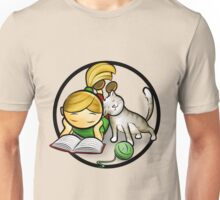 Girl & cute Kitten cartoony Unisex T-Shirt
