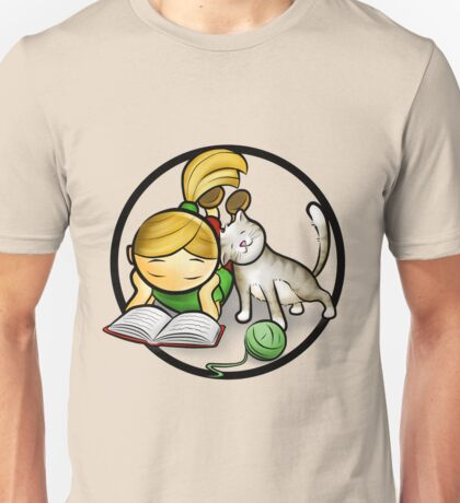 Girl & cute Kitten cartoony Unisex T-Shirt