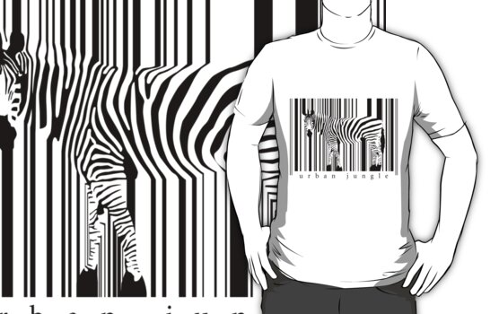 Zebra T-shirt by ArtNouveau