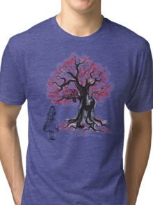 The Cheshire's Tree sumi-e (monochrome) Tri-blend T-Shirt