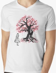 The Cheshire's Tree sumi-e (monochrome) Mens V-Neck T-Shirt