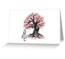 The Cheshire's Tree sumi-e (monochrome) Greeting Card