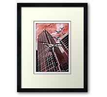 Red swarm over Canary Wharf by #fftw Framed Print