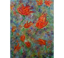 Abstract flower garden, spring tulips, abstract art, original painting Photographic Print