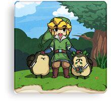 Legend of Zelda Skyward Sword: Link and Kikwis Canvas Print