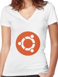 Ubuntu 1-Colour Logo Women's Fitted V-Neck T-Shirt