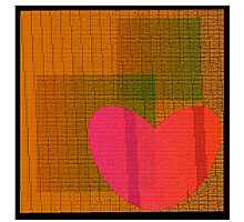 Textured red heart on background  Photographic Print