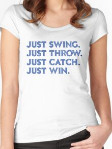 Just Win. (Blue) Women's Fitted Scoop T-Shirt